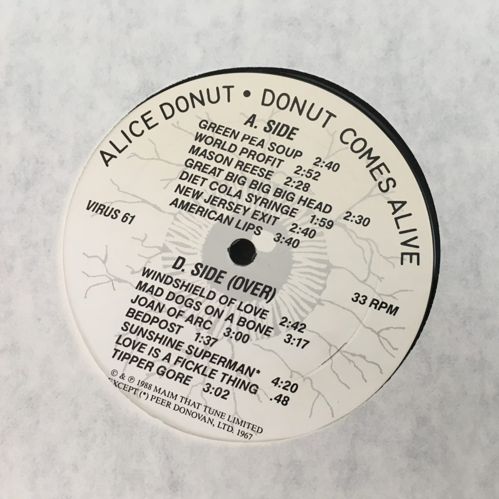 Alice Donut custom label front