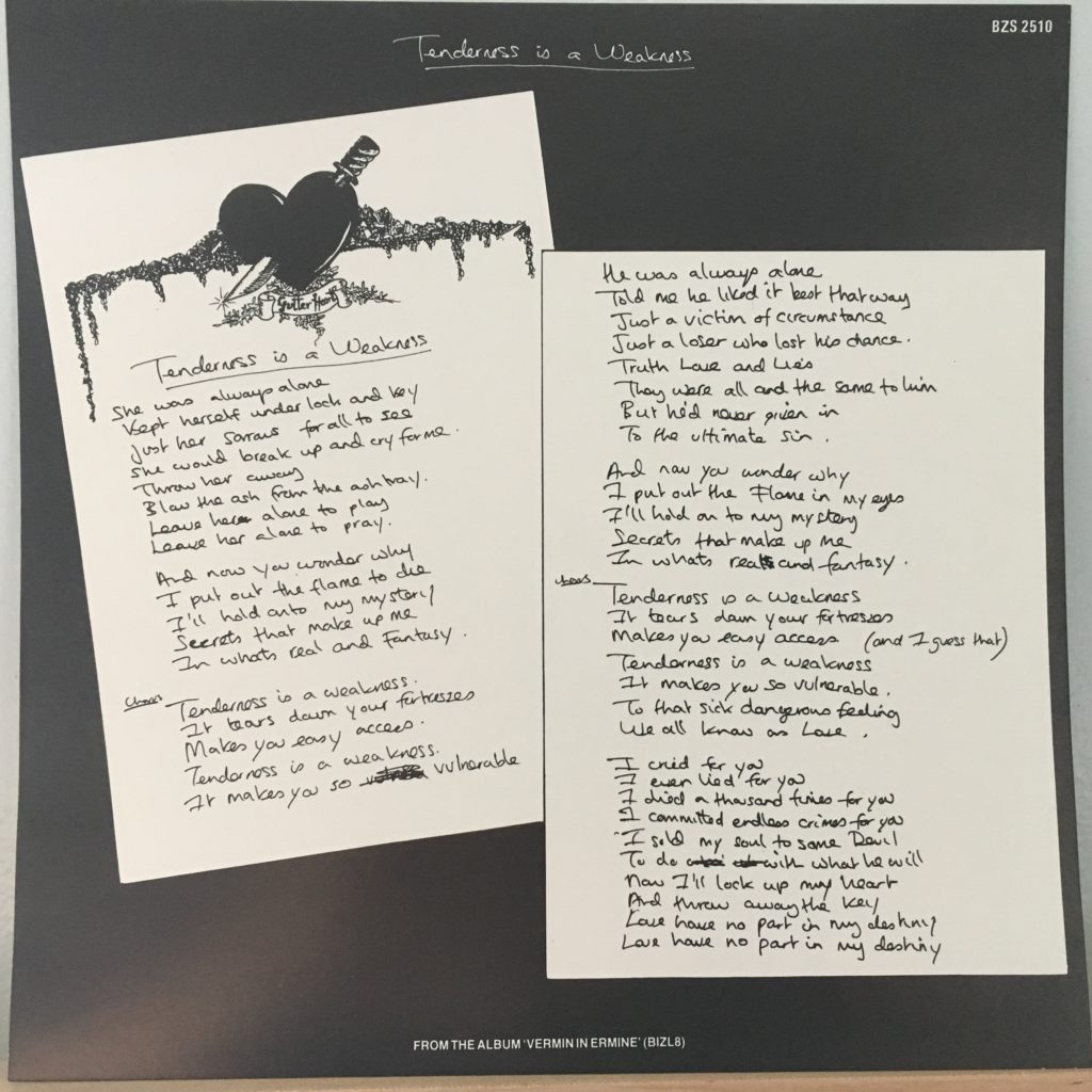 Tenderness Is A Weakness lyric sheet