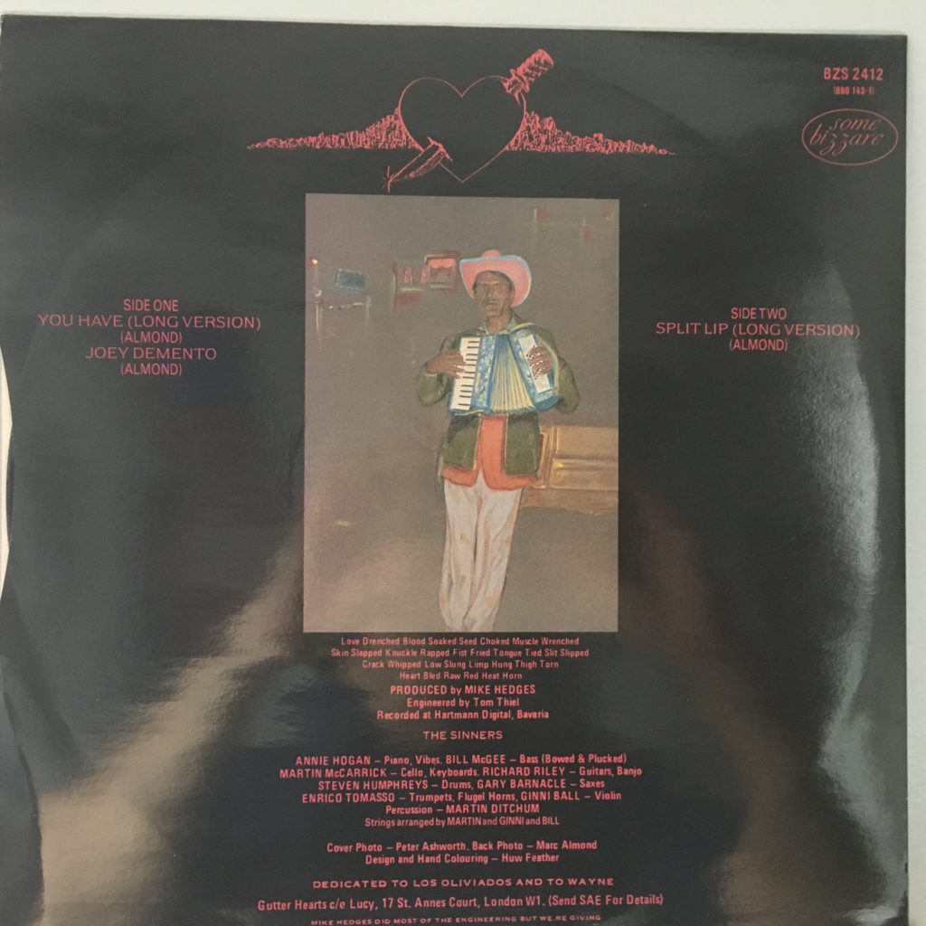 "Back cover of You Have 12"" single"