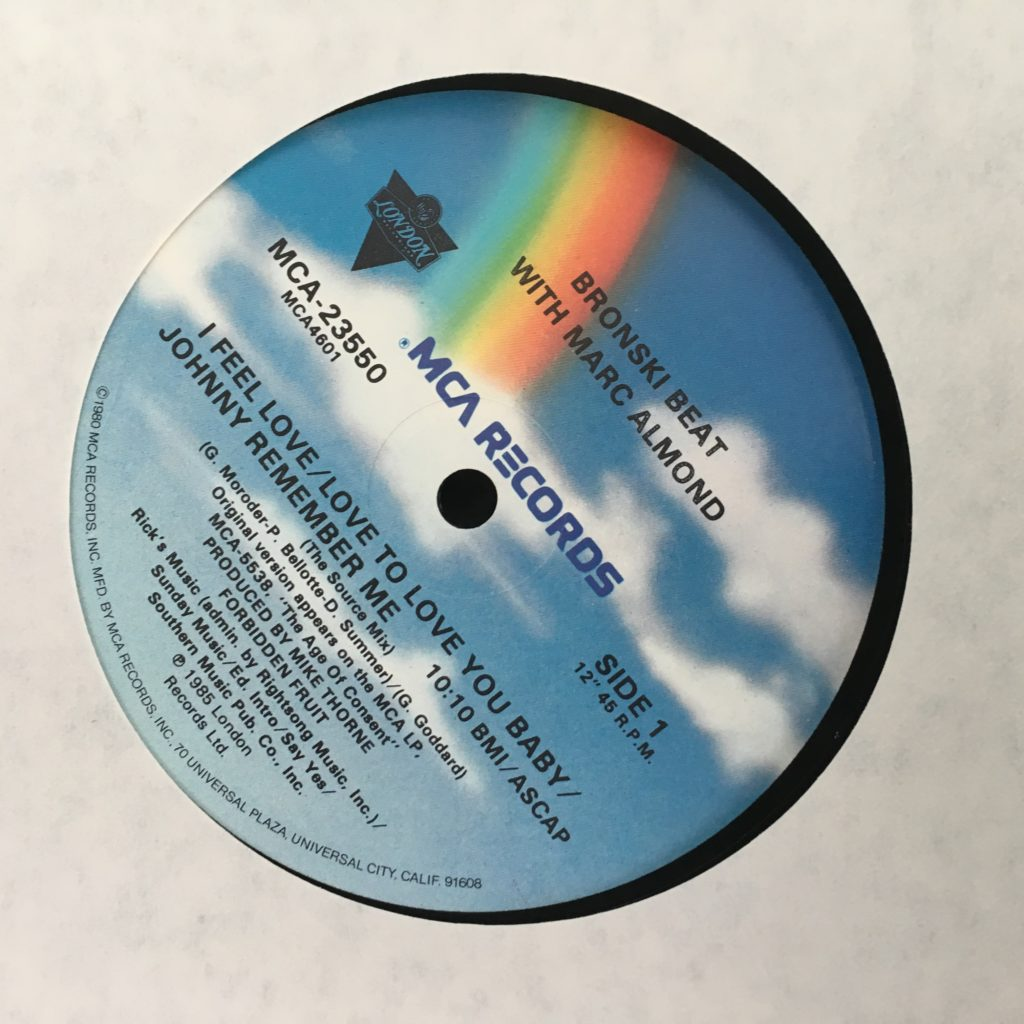 Bronski Beat with Marc Almond Label