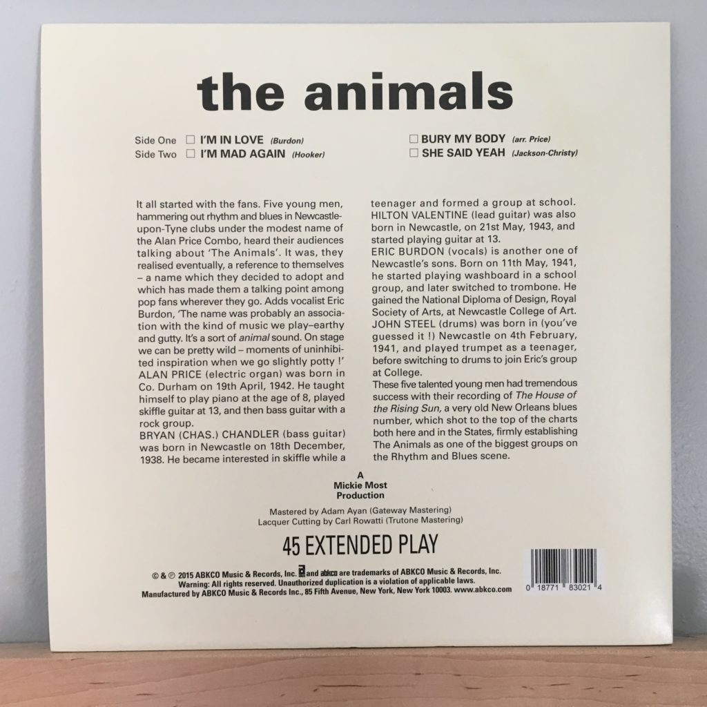 The Animals EP back cover