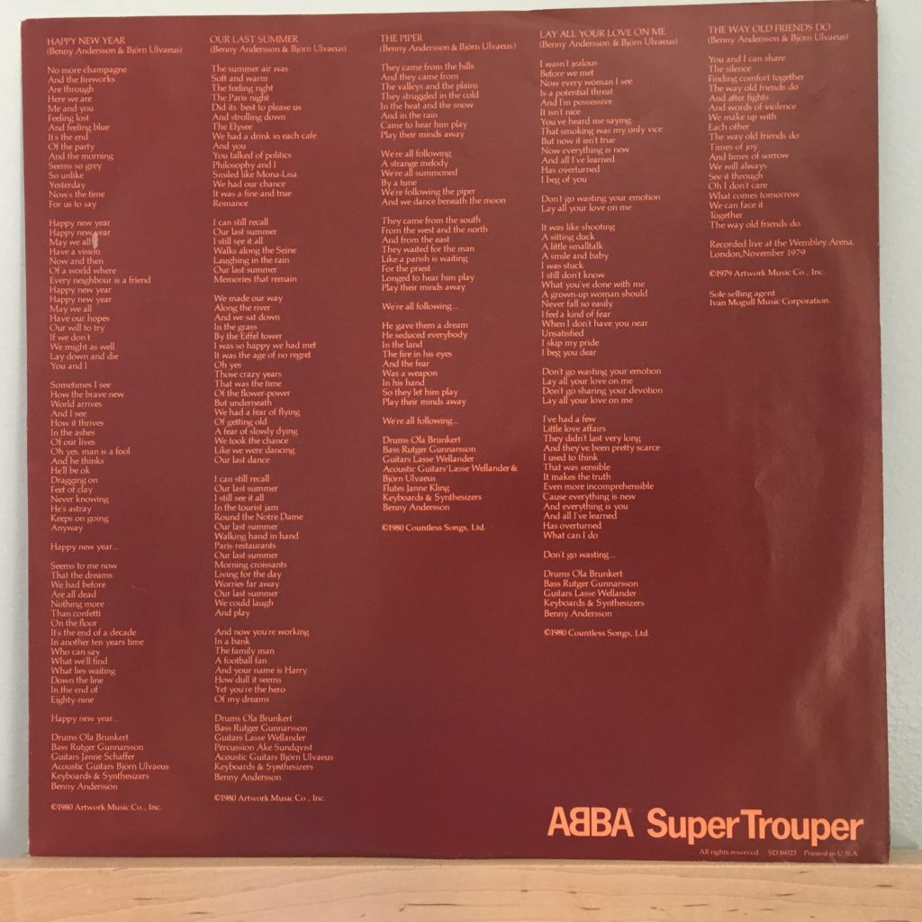 ABBA Super Trouper lyric sleeve