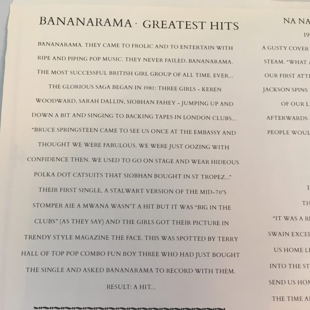 Bananarama Greatest Hits sleeve detail