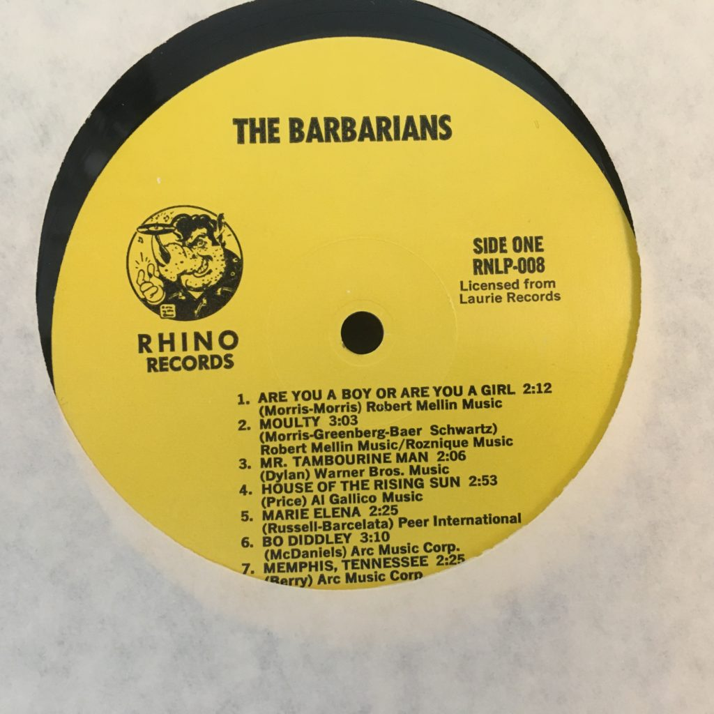 The Barbarians Rhino label