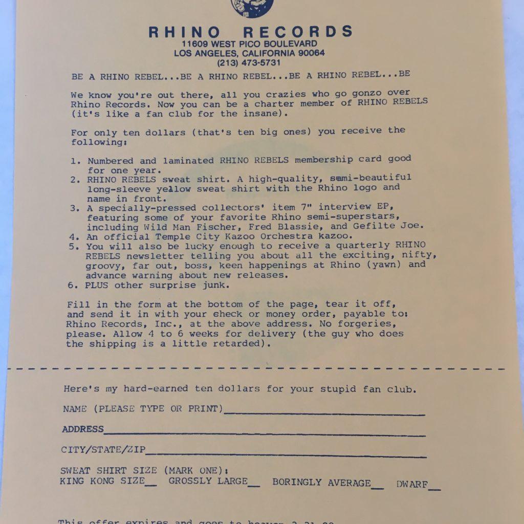 Rhino Records fan club insert