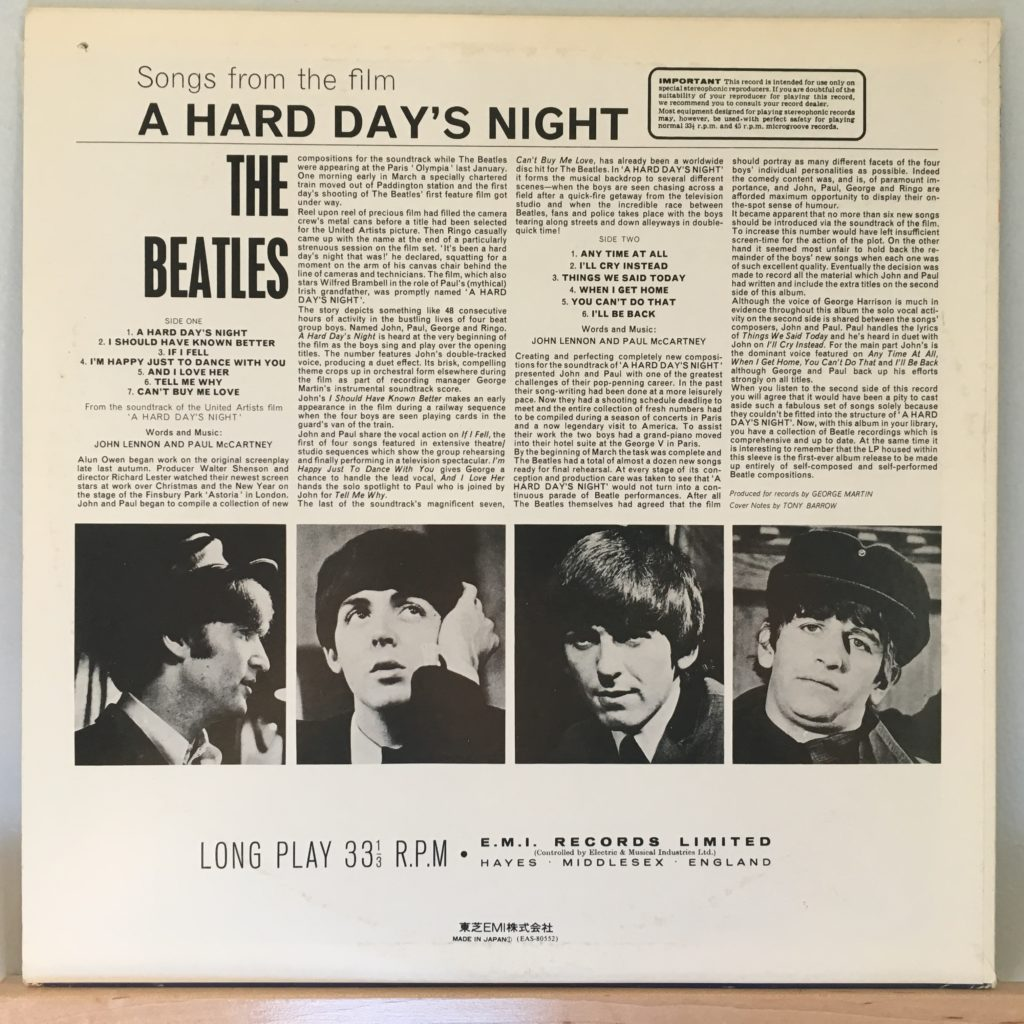 A Hard Day's Night back cover