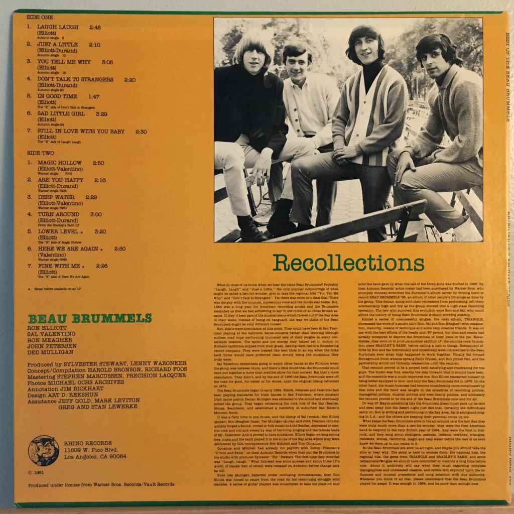 Best of the Beau Brummels back cover