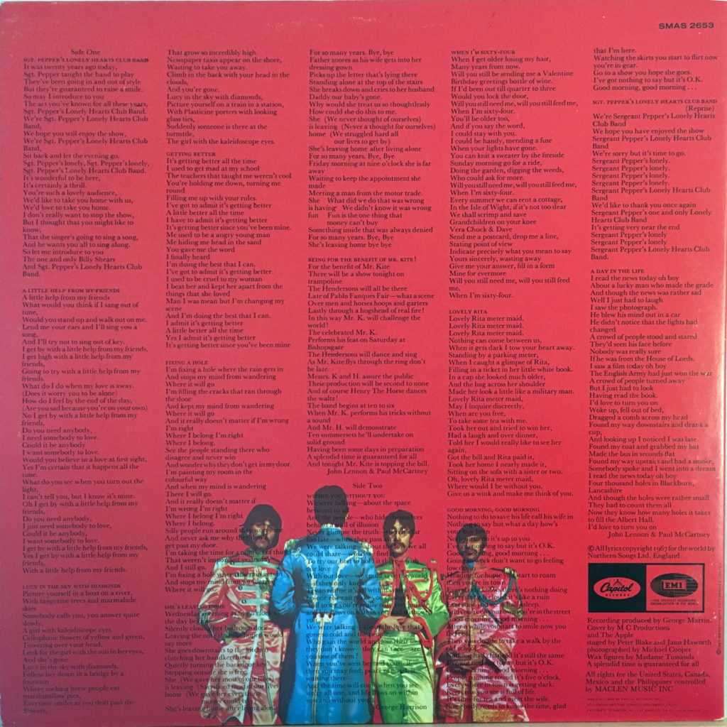 Sgt Peppers back cover