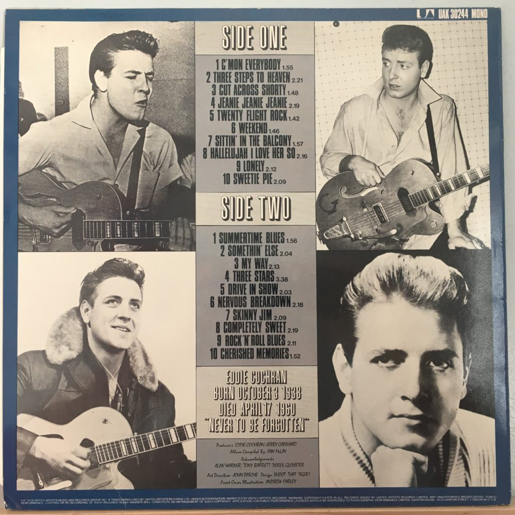 The Eddie Cochran Singles Album back cover