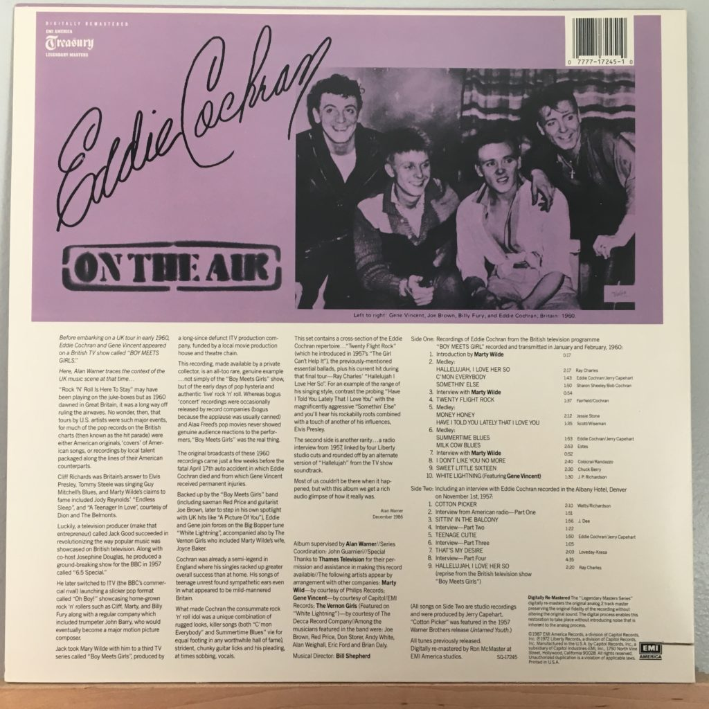 Eddie Cochran On the Air back cover