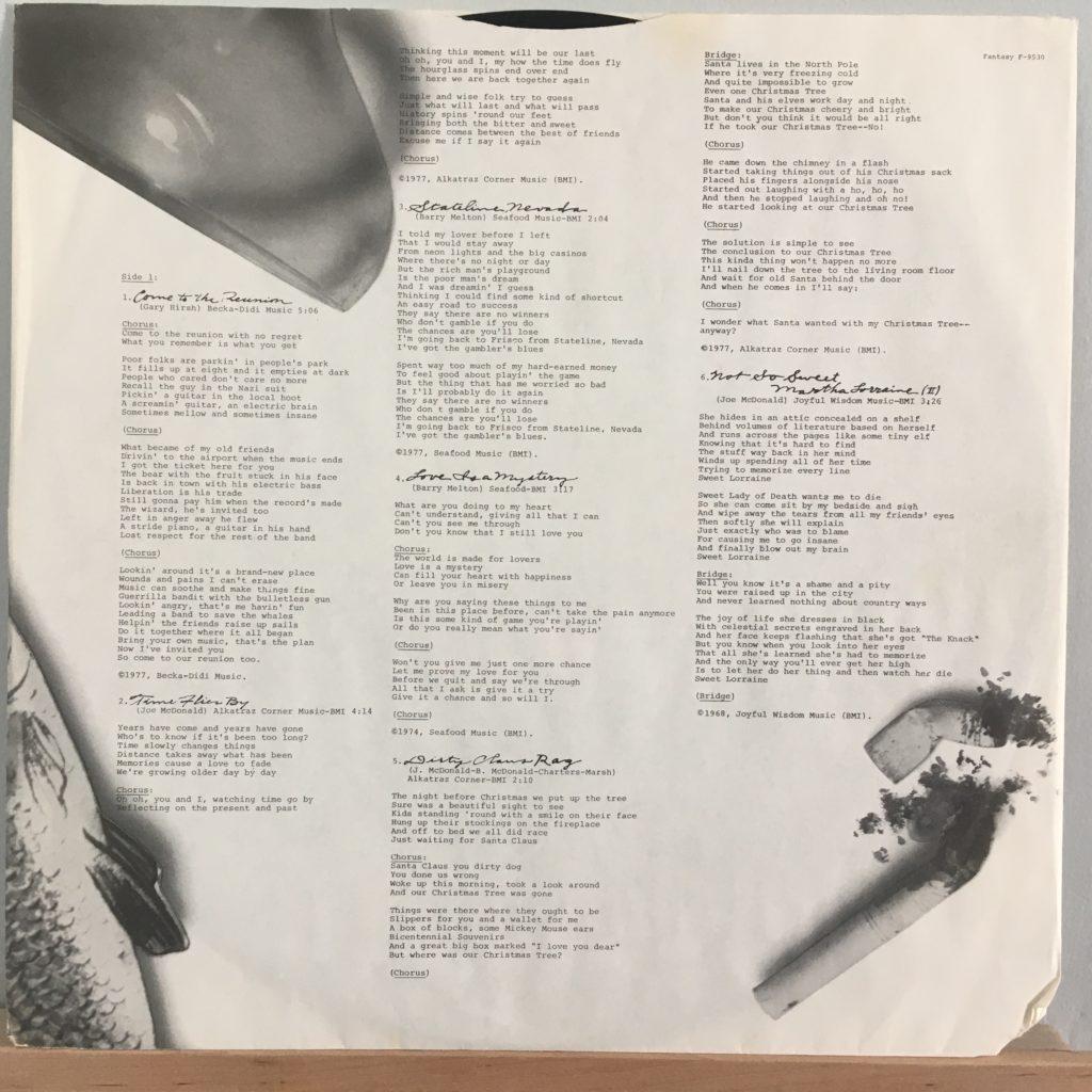 Reunion lyrics sleeve side 1