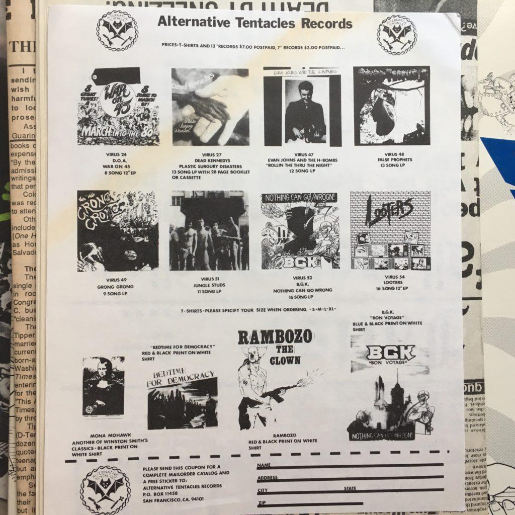 Alternative Tentacles Records order sheet