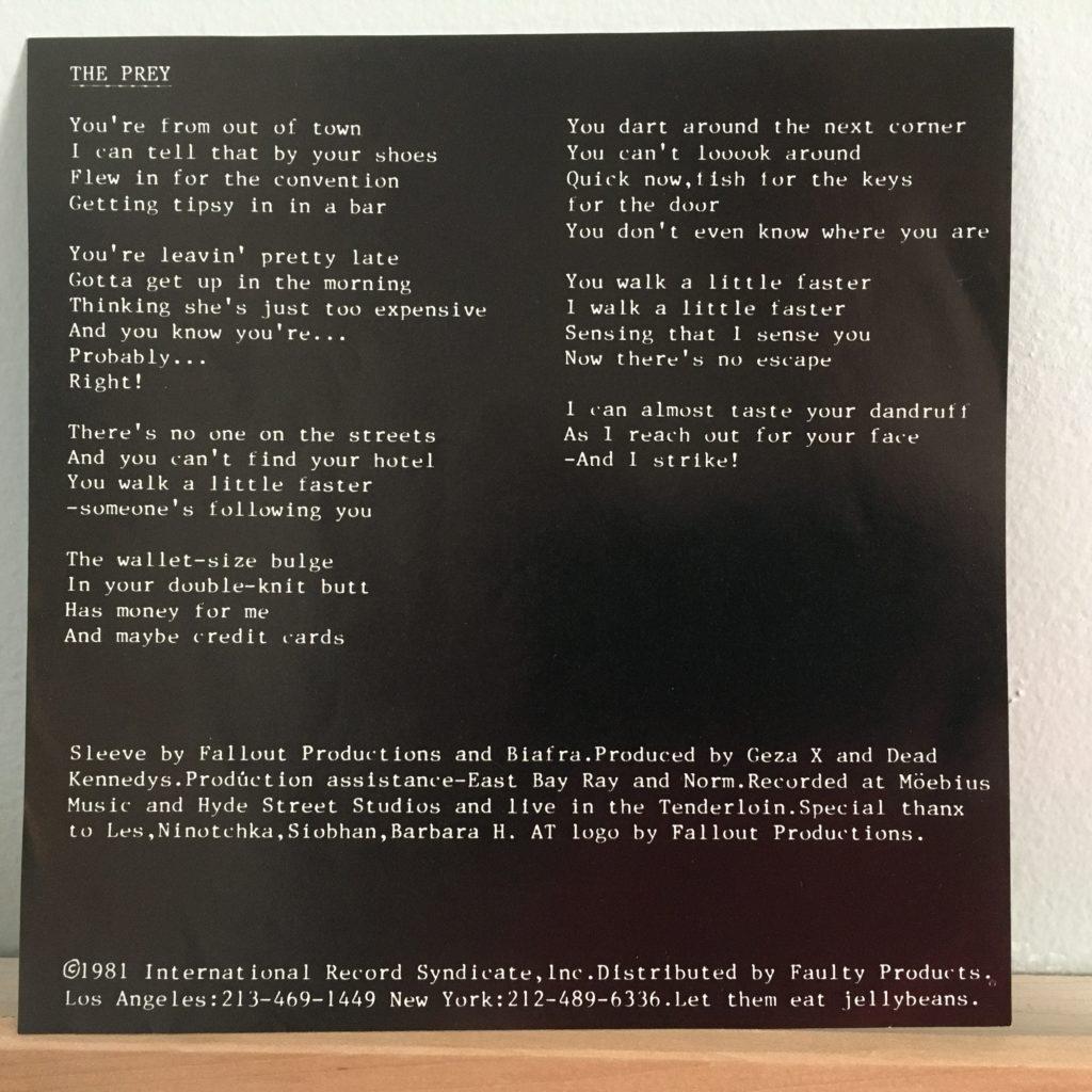 A lyrics insert - in a 45!