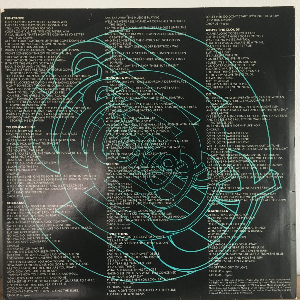 ELO New World Record lyric sleeve