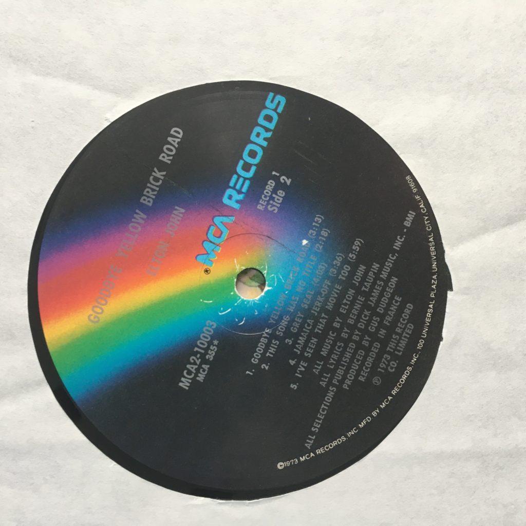 Goodbye Yellow Brick Road MCA rainbow label