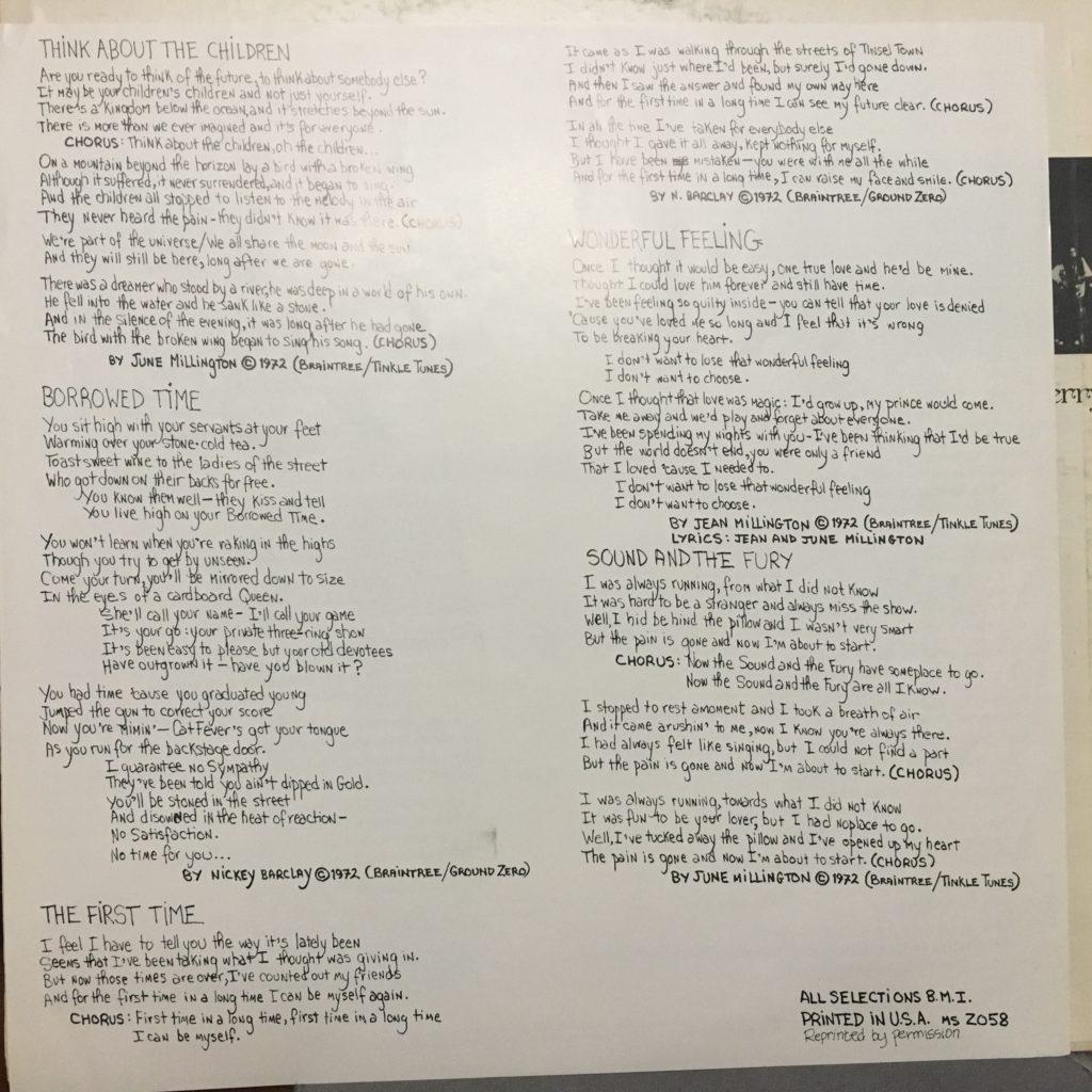 Lyric sheet side 2