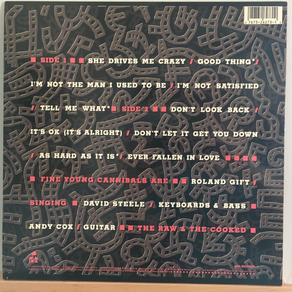 Fine Young Cannibals The Raw & The Cooked back cover