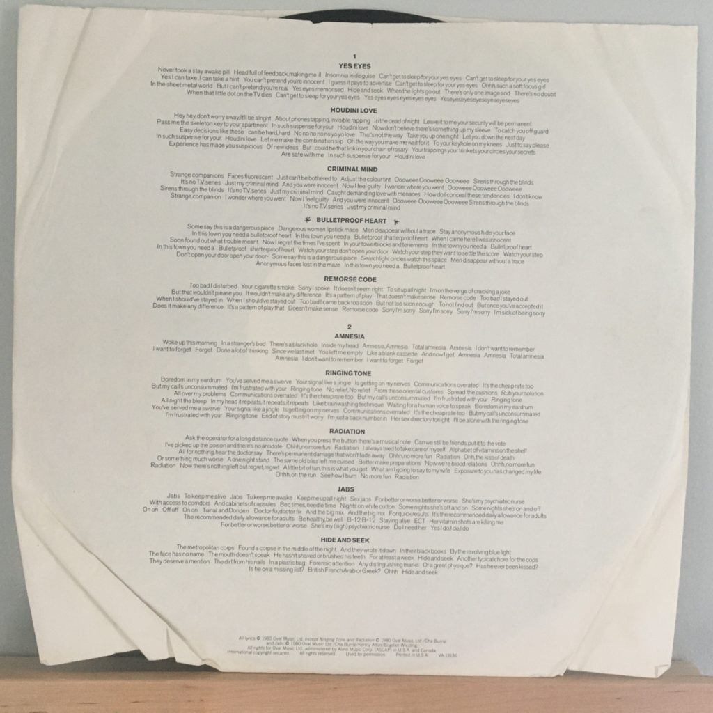 Distinguishing Marks lyrics sleeve