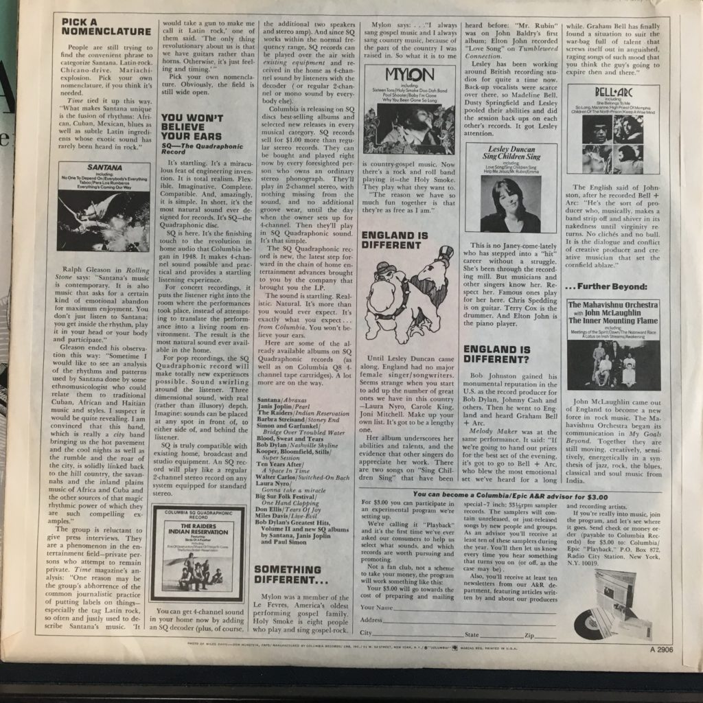 Columbia promo sleeve back
