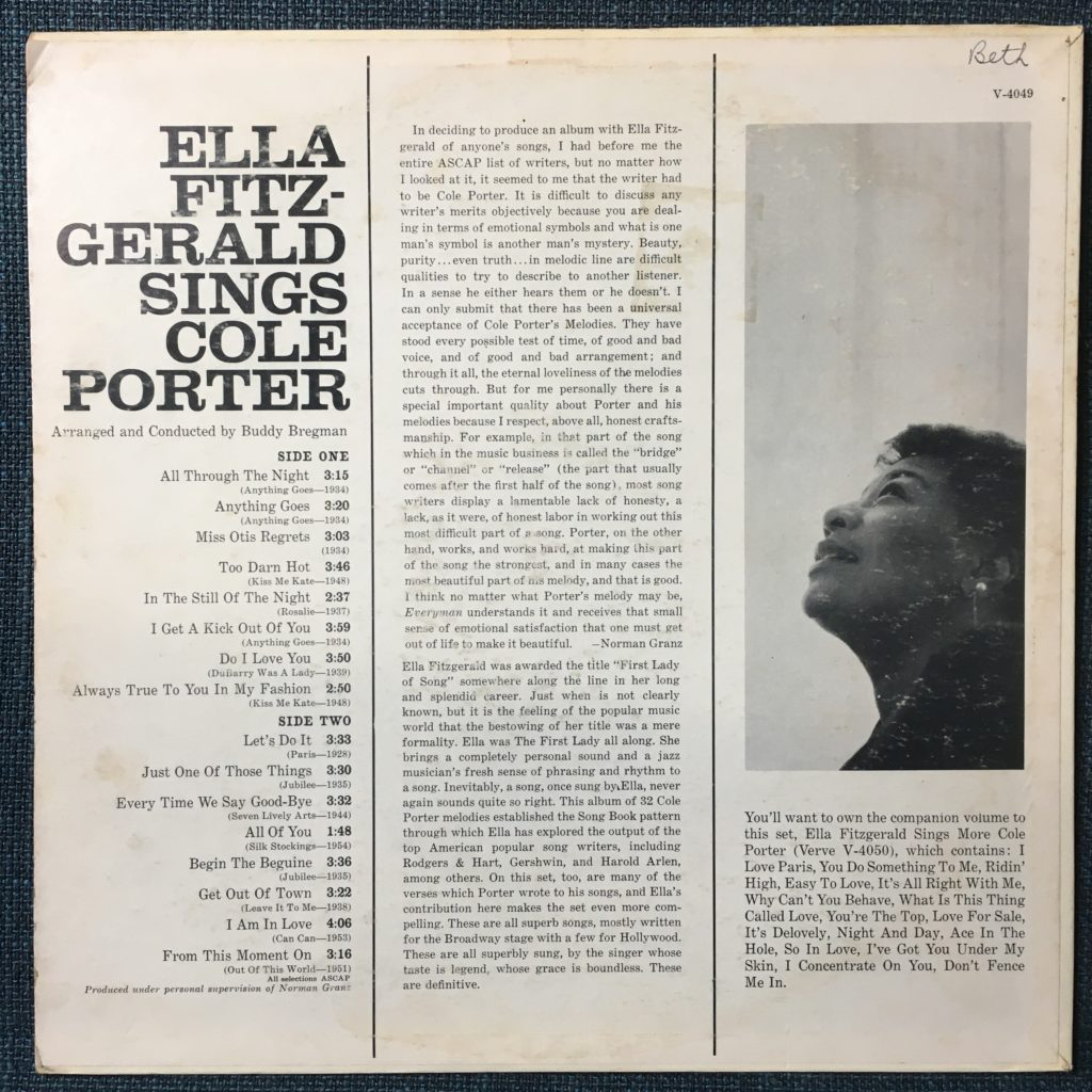 Ella Fitzgerald Sings Cole Porter back cover