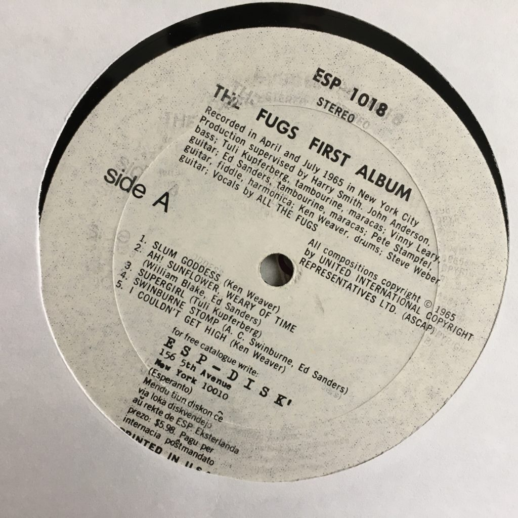 Poorly printed Fugs First Album label