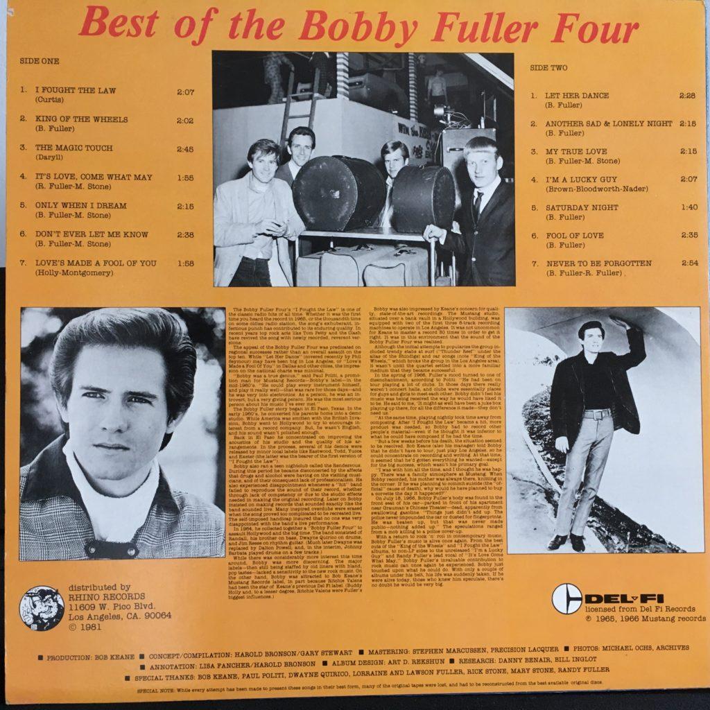 Best of the Bobby Fuller Four back cover