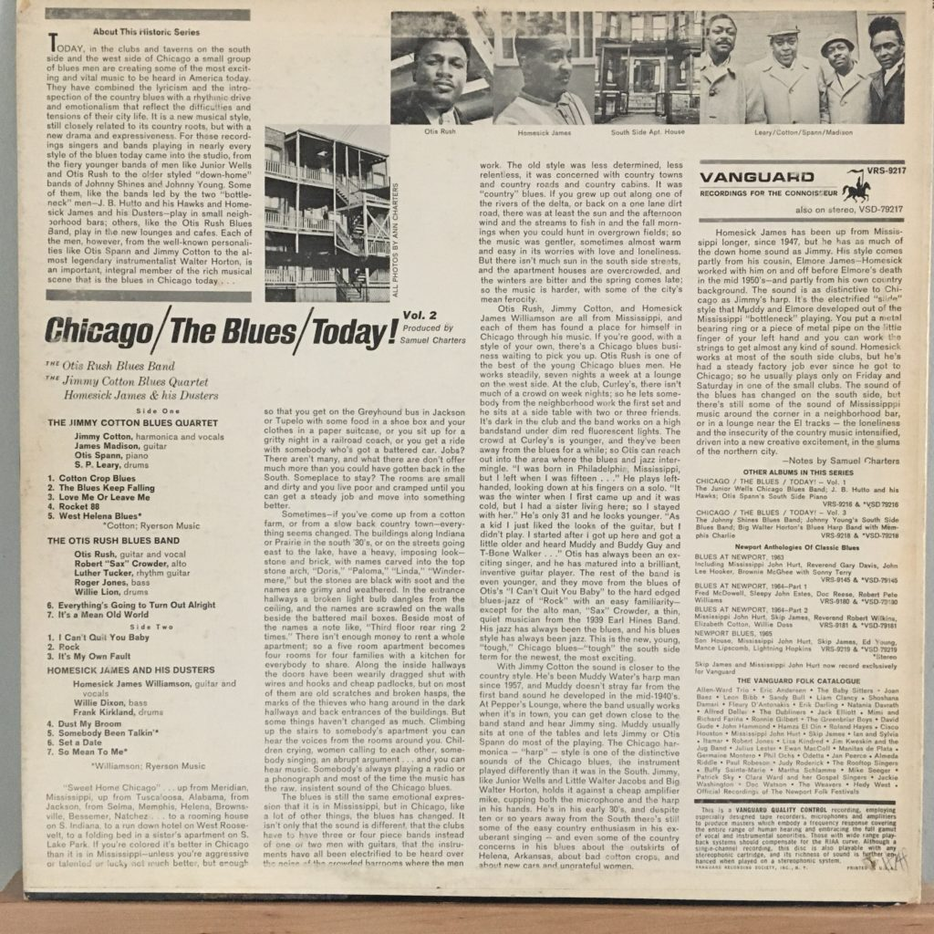 Chicago / The Blues / Today! Vol. 2 back cover