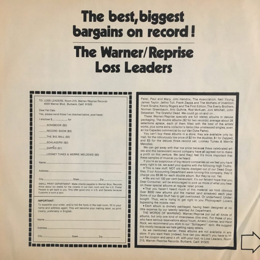 Warner Loss Leaders promo sleeve 1