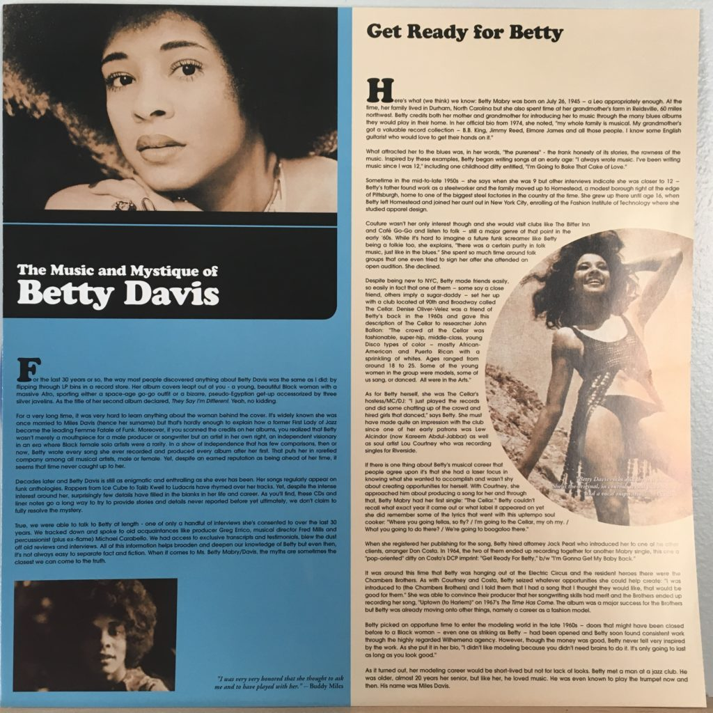 Betty Davis liner notes insert