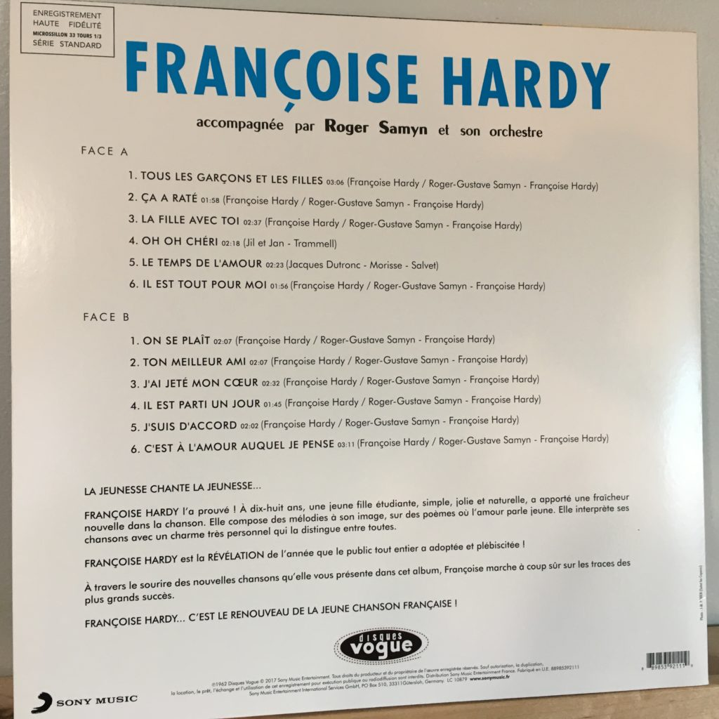 Francoise Hardy back cover