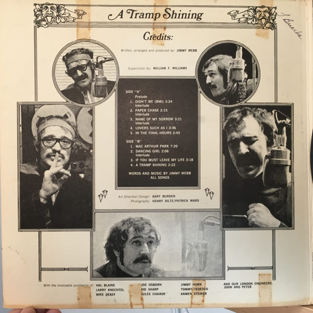 A Tramp Shining credits on the gatefold
