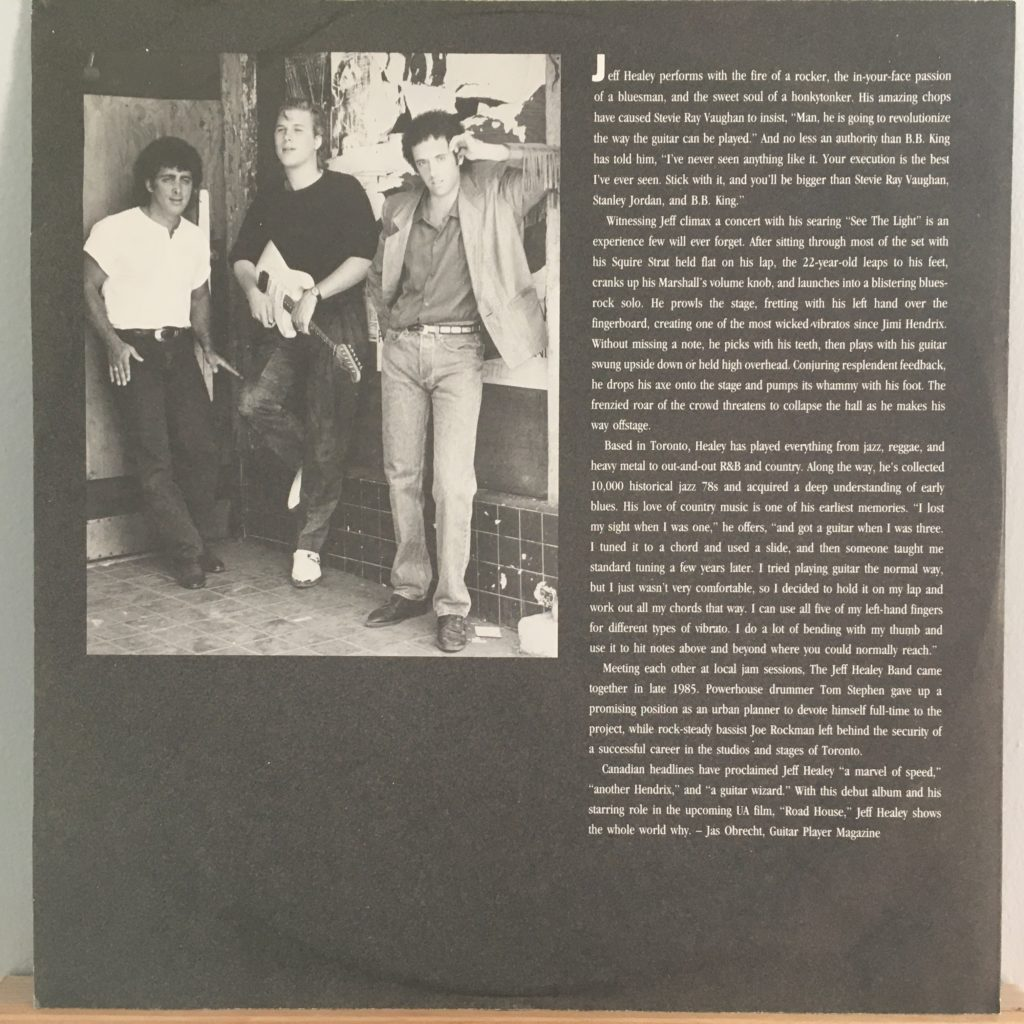 Jeff Healey band liner notes sleeve