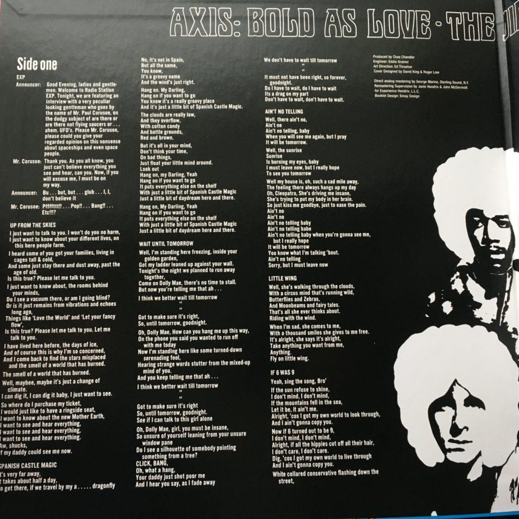 Axis gatefold left with lyrics