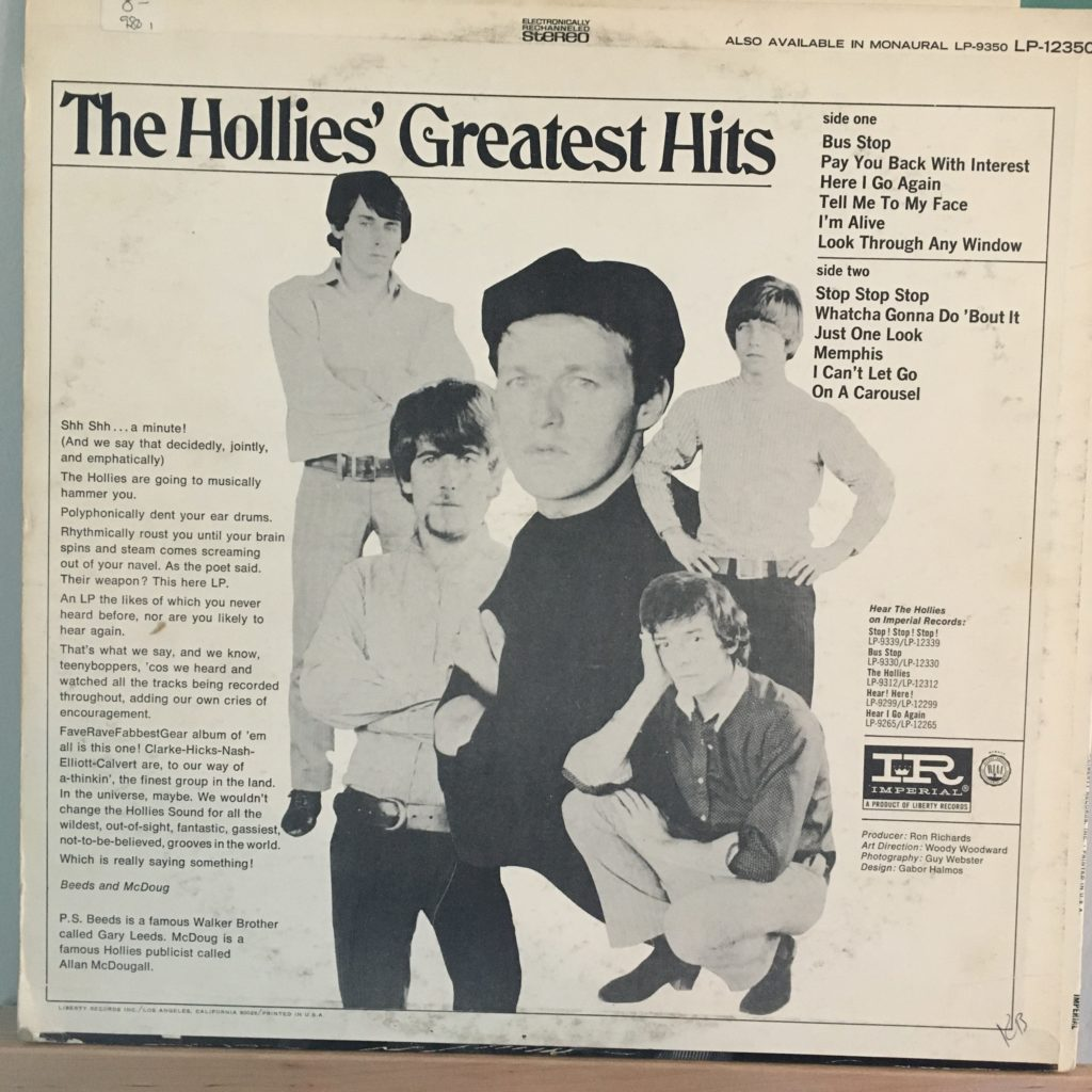 The Hollies' Greatest Hits 1 back cover