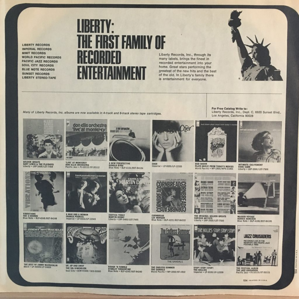 Hollies Great Hits Liberty promo sleeve
