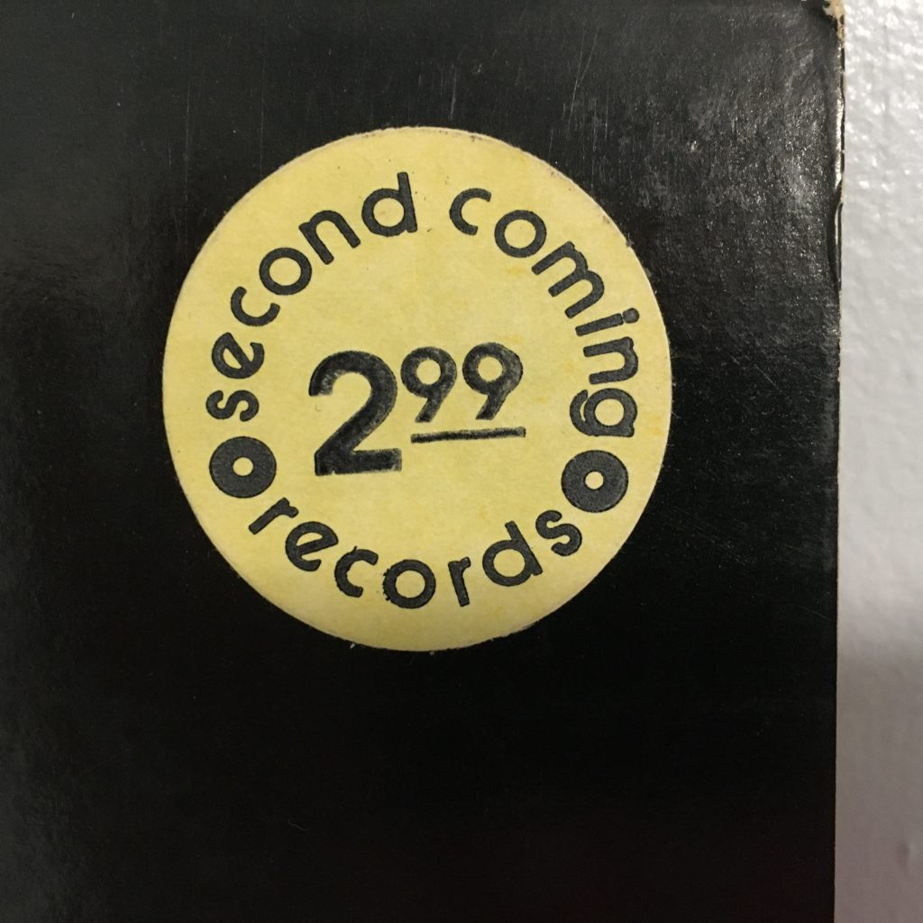 Second Coming Records price sticker