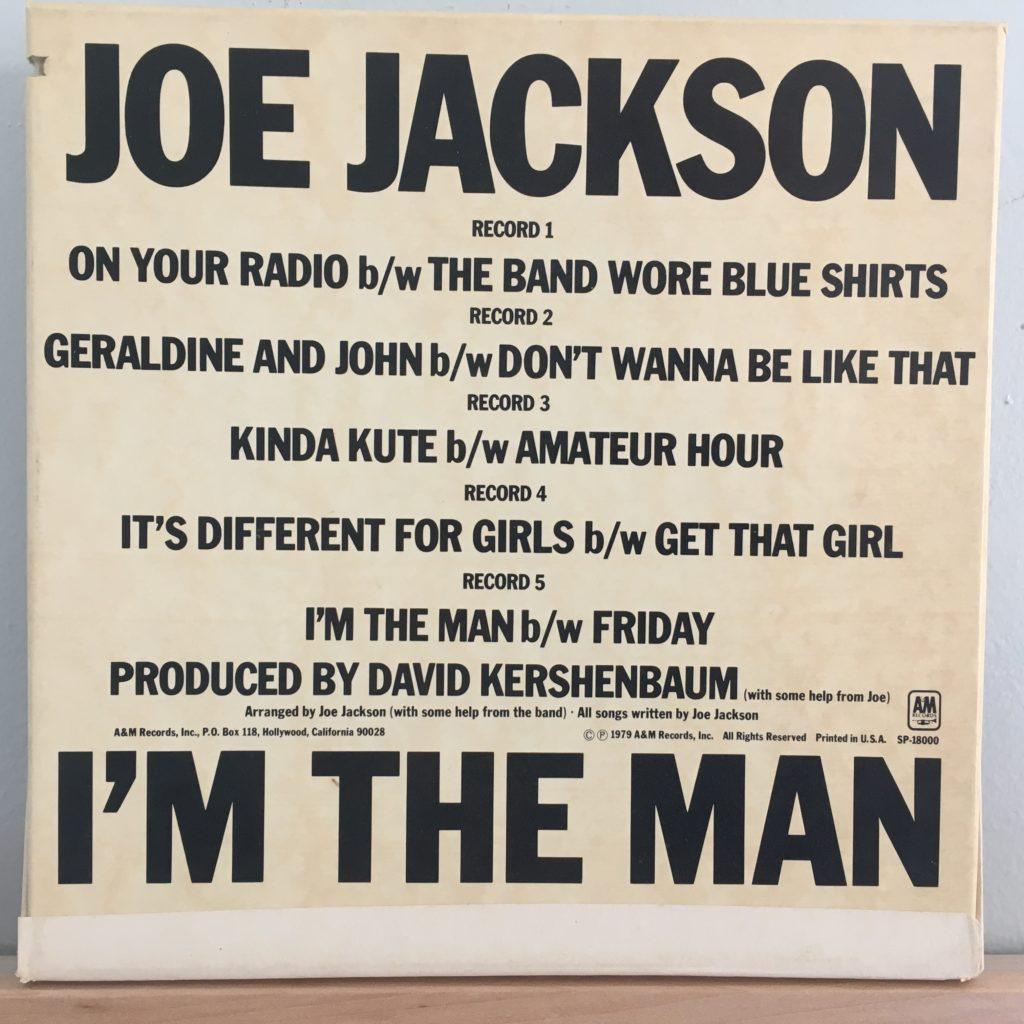 """Joe Jackson I'm The Man 7"""" box back cover"""