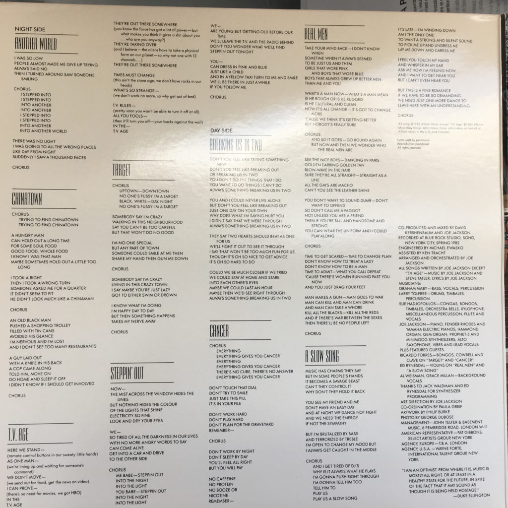 Night and Day lyrics gatefold