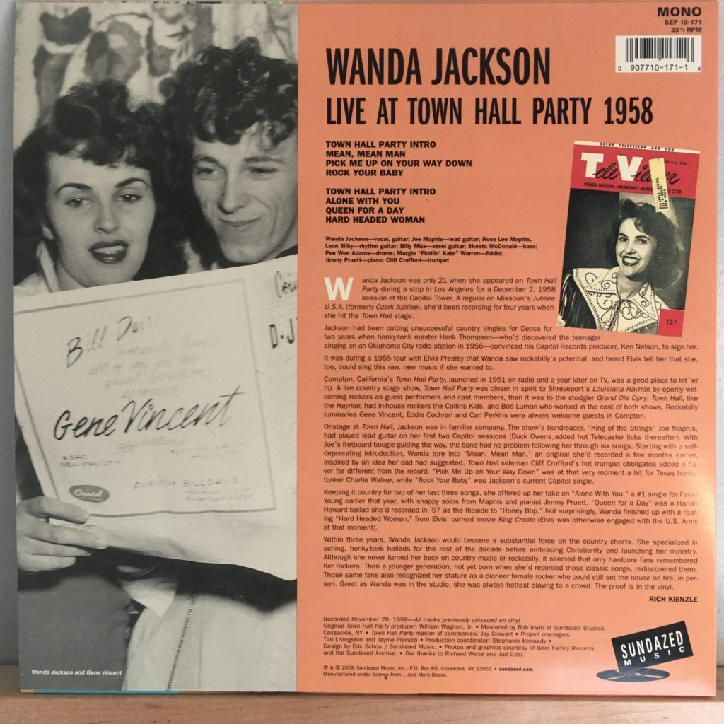 Town Hall Party back cover