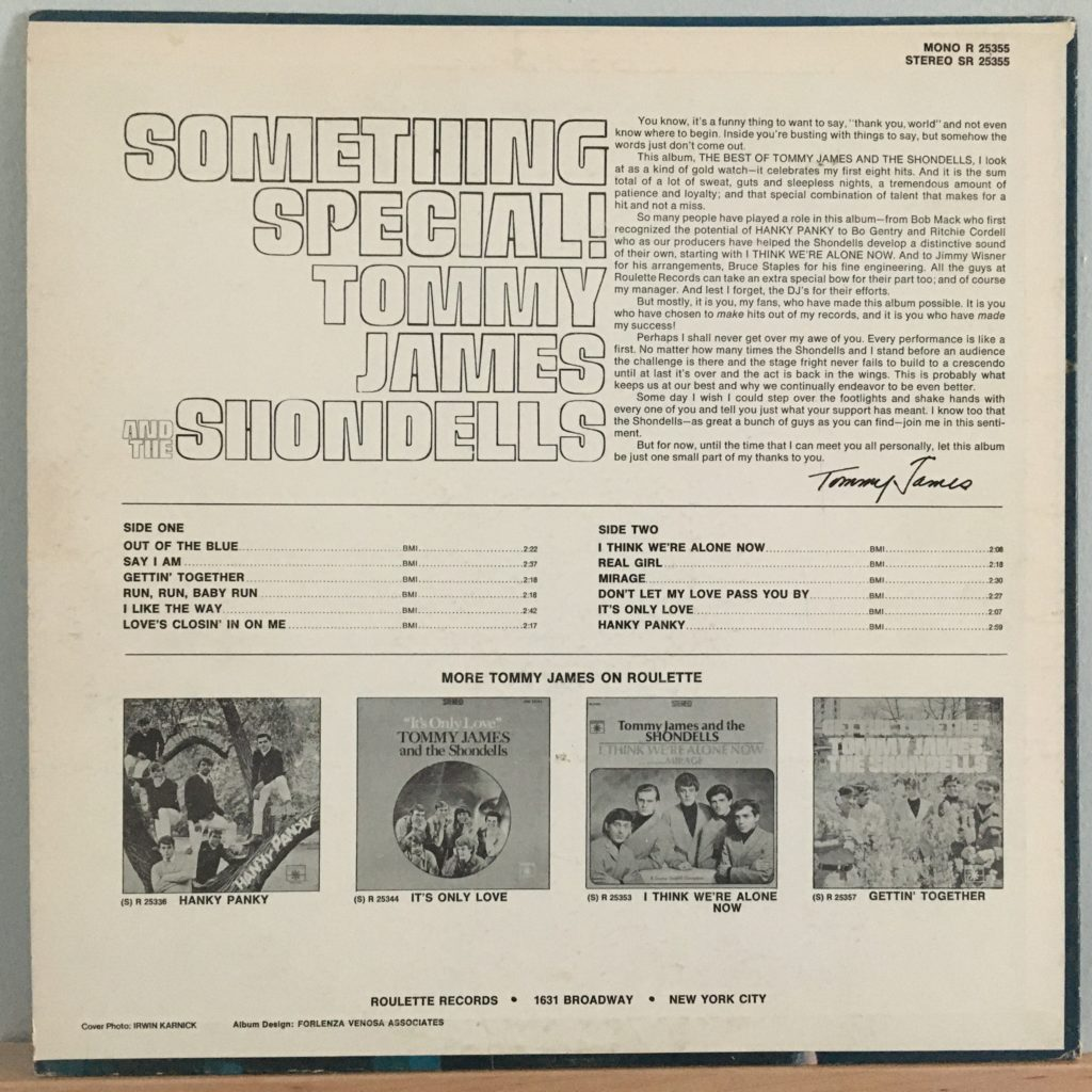 Something Special back cover