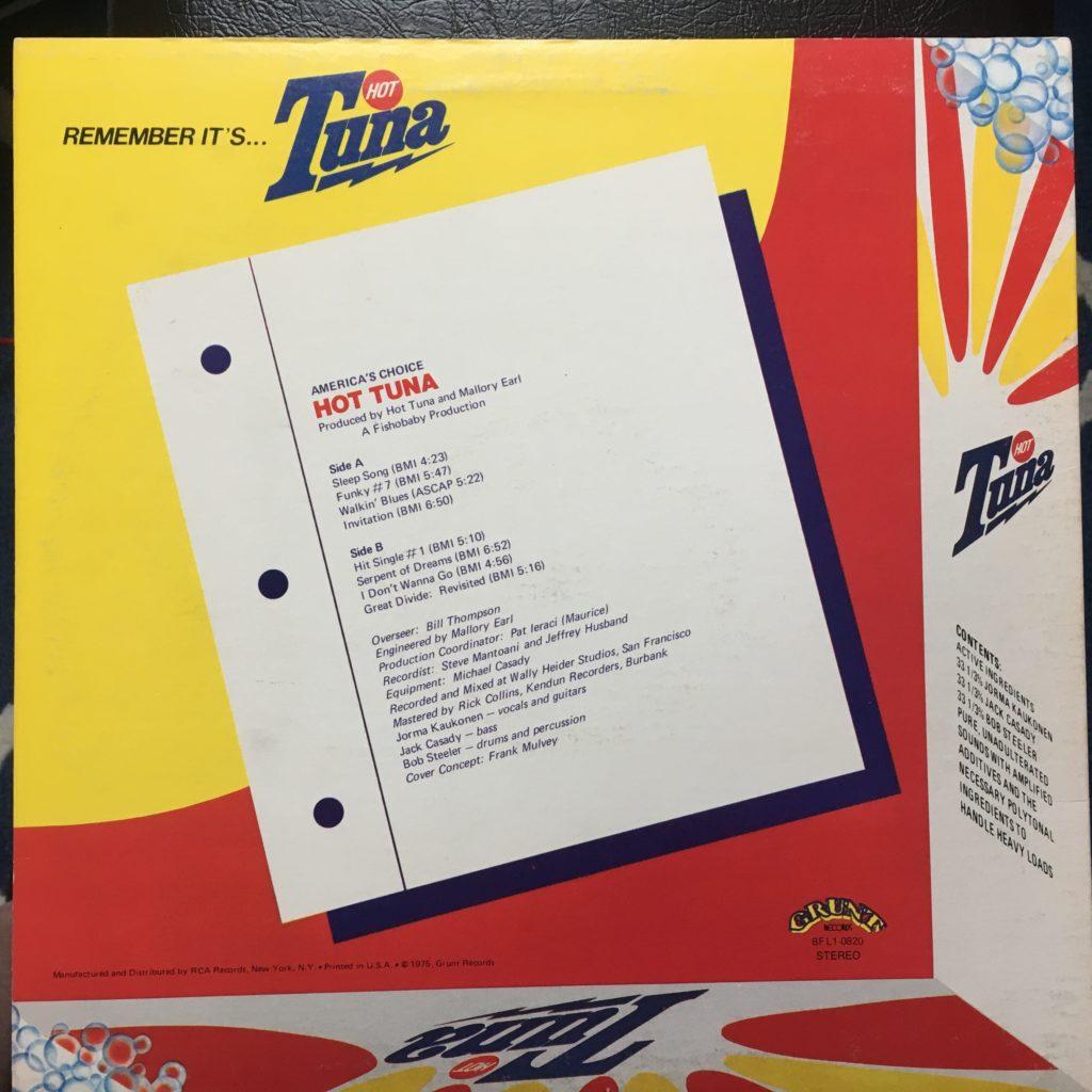 Hot Tuna America's Choice back cover