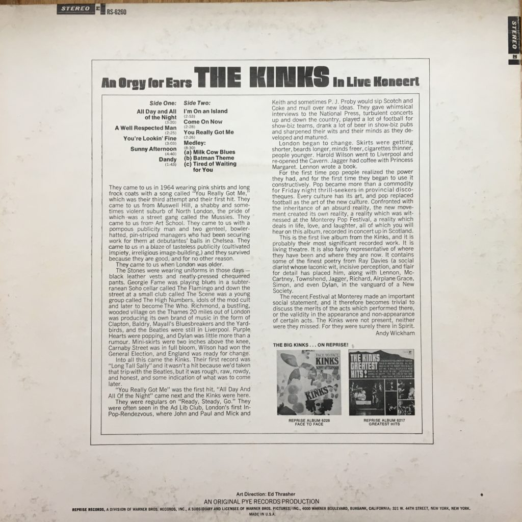 The Live Kinks back cover