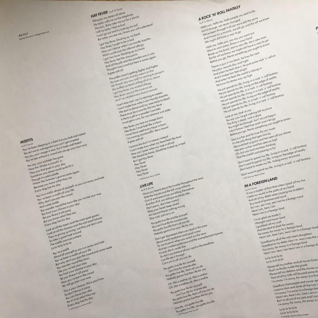 Misfits lyrics insert