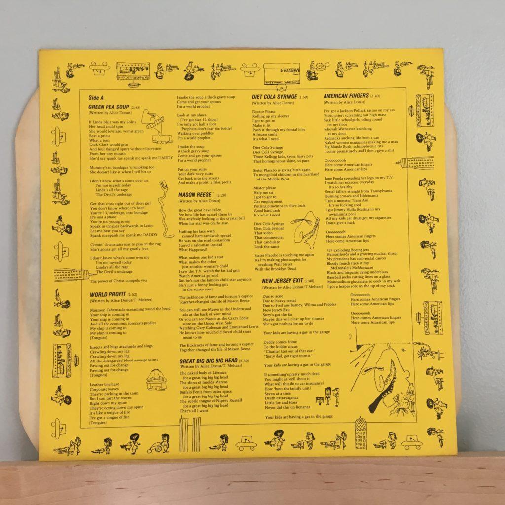 Alice Donut Lyric Sheet -- Side A