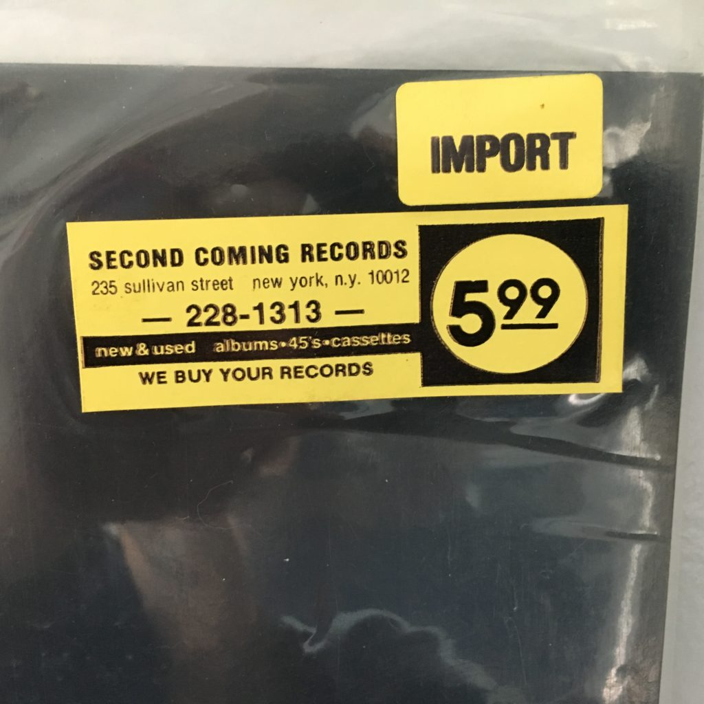 Price Sticker from Second Coming Records