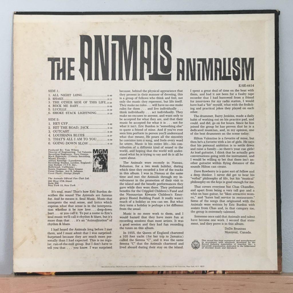 Animalism US Back Cover