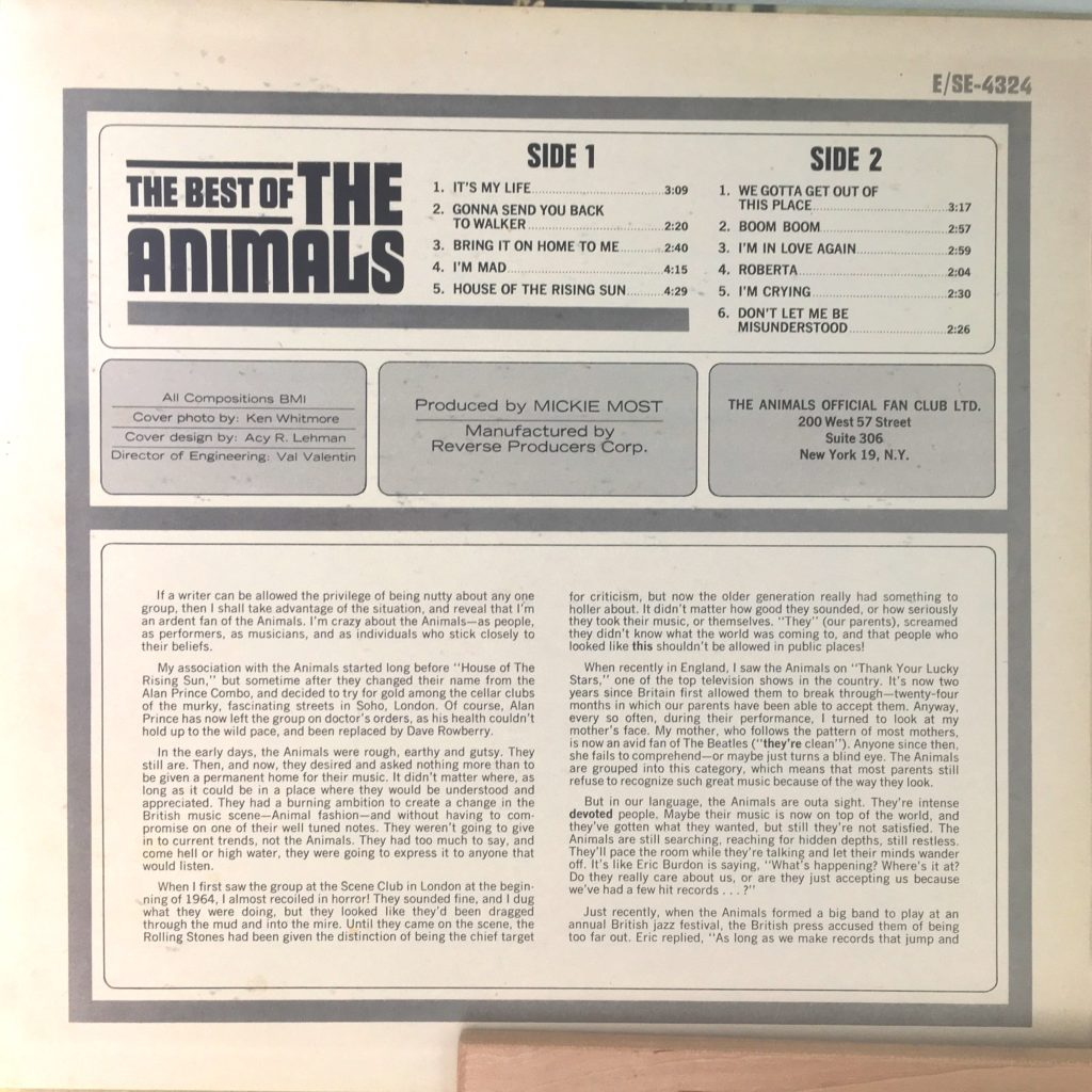 Best of the Animals Liner Notes A