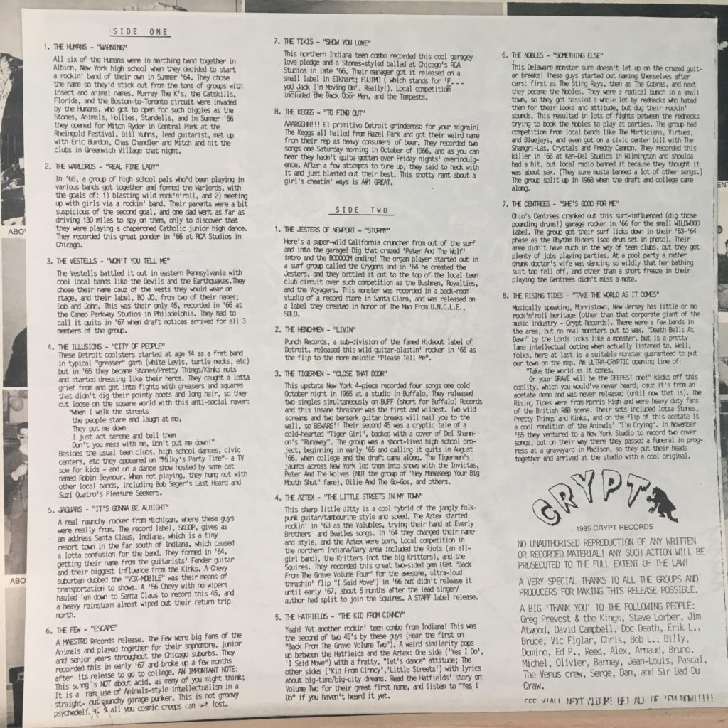 Back From the Grave Volume Five Liner Notes