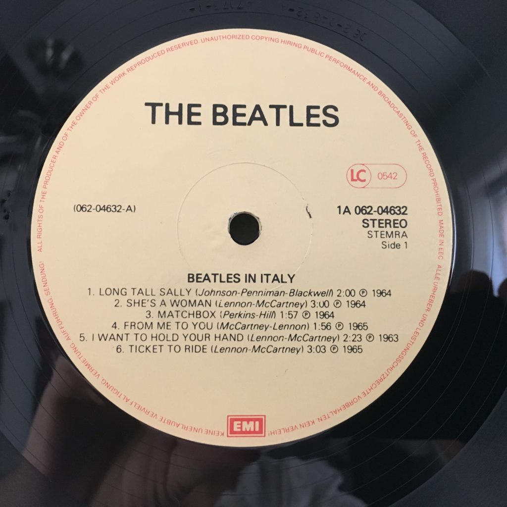Beatles in Italy label