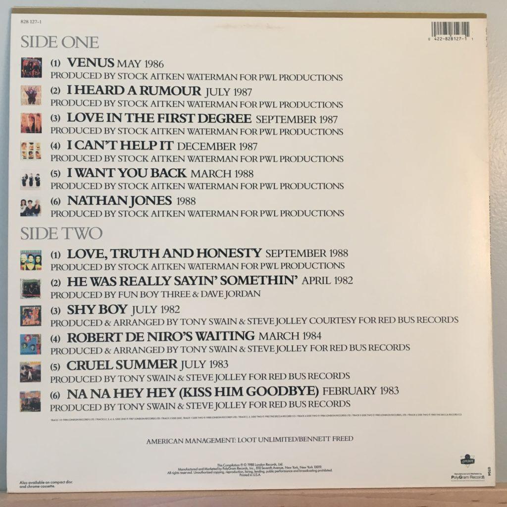 Banarama Greatest Hits back cover